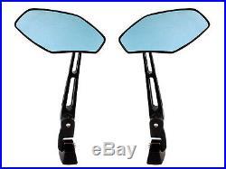 Black Aluminum Rear View Blue Mirrors for Honda CBR 250 600 F4i 929 954 1000 RR