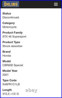 HONDA CBR 600 F4i Ohlins Factory HRC Rear Shock Absorber Suspension 01 F4 Sport