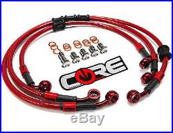 HONDA CBR600F4i 2001-2008 STEEL BRAIDED FRONT AND REAR BRAKE LINES TRANS RED
