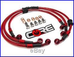 Honda CBR 600 F4 F4i Brake Lines 1999-2006 Front-Rear Red Braided Kit CBR600