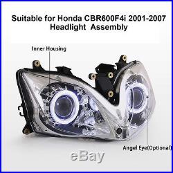 KT Headlight Assembly for Honda CBR600F4i 2001-2007 LED Halo Eyes HID Projector